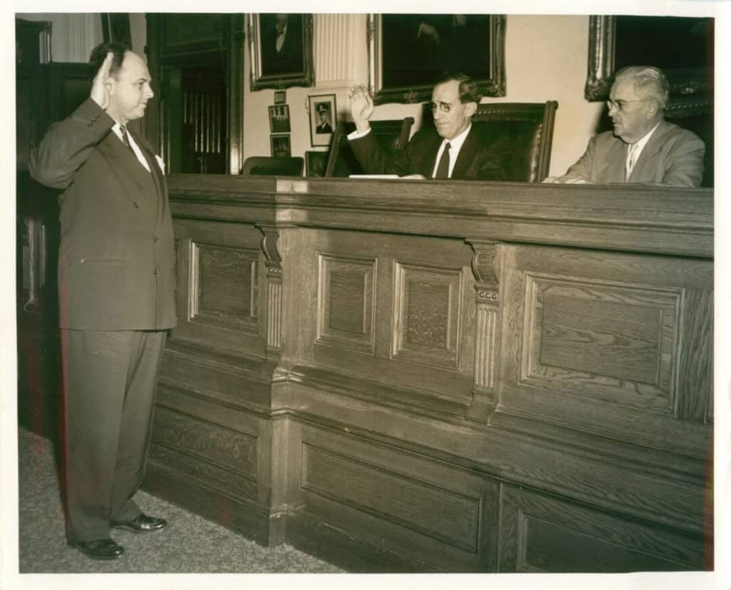Sam Lee being sworn in as District Attorney 1953